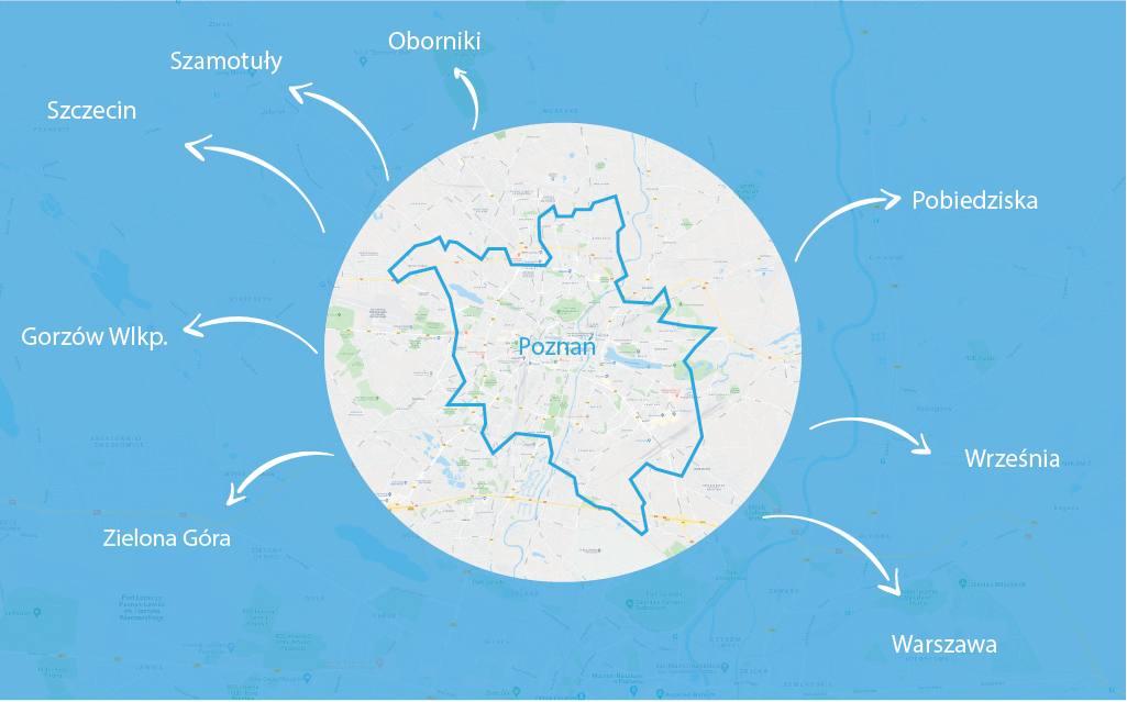 mapa dowozu poznan
